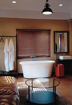 Faux Wood Blinds For Culver City Bathroom Windows